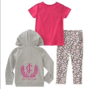 Juicy Couture Matching Sets - Juicy Couture Gray Royal Heart Zip-Up Hoodie Set